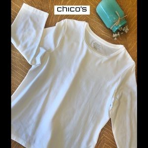Chico's white Ultimate Tee 3/4 sleeves, Sz 1